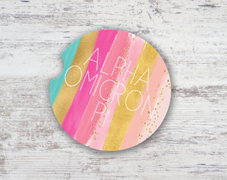 Alpha Omicron Pi Bright Stripes Sandstone Car Cup Holder Coaster