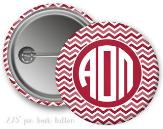 Alpha Omicron Pi Chevron Monogram Button