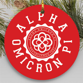 Alpha Omicron Pi Round Christmas Shield Ornament