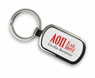 Alpha Omicron Pi Chrome Crest - Shield Key Chain