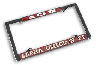 Alpha Omicron Pi Chrome License Plate Frames