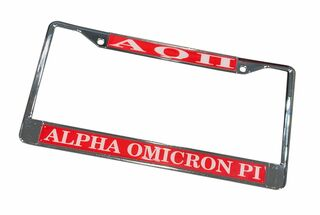 Alpha Omicron Pi Chrome License Plate Frames