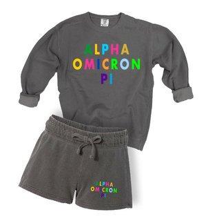 Alpha Omicron Pi Comfort Colors Crew and Short Set