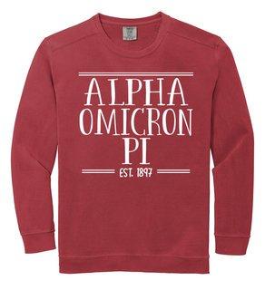 Alpha Omicron Pi Comfort Colors Established Crewneck Sweatshirt