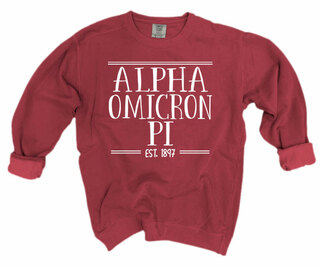 Alpha Omicron Pi Comfort Colors Custom Crewneck Sweatshirt