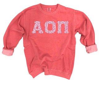 Alpha Omicron Pi Comfort Colors Lettered Crewneck Sweatshirt