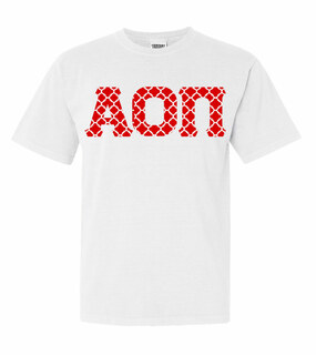 Alpha Omicron Pi Comfort Colors Lettered Greek Short Sleeve T-Shirt