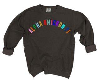 Alpha Omicron Pi Comfort Colors Rainbow Arch Crew