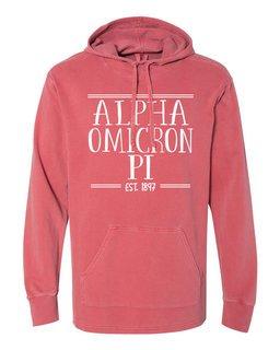 Alpha Omicron Pi Comfort Colors Terry Scuba Neck Custom Hooded Pullover