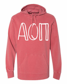 Alpha Omicron Pi Comfort Colors - Terry Scuba Neck Greek Hooded Pullover