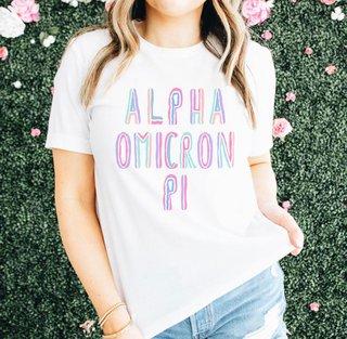 Alpha Omicron Pi Comfort Colors Tinsel Tee