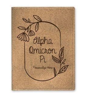 Alpha Omicron Pi Cork Portfolio with Notepad
