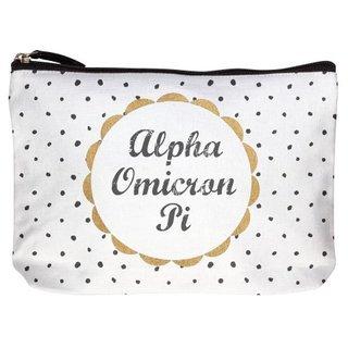 Alpha Omicron Pi Cotton Canvas Makeup Bags