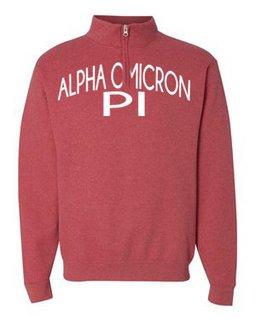 Alpha Omicron Pi Over Zipper Quarter Zipper Sweatshirt