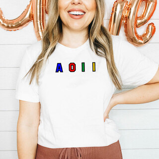 Alpha Omicron Pi Custom Colors Embroidered Nickname Tee