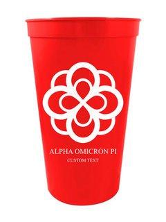 Alpha Omicron Pi Custom Greek Crest Letter Stadium Cup