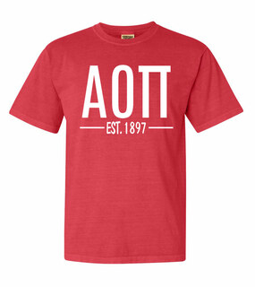 Alpha Omicron Pi Custom Greek Lettered Short Sleeve T-Shirt - Comfort Colors