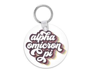 Alpha Omicron Pi Retro Script Keychain