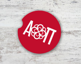Alpha Omicron Pi Sandstone Car Cup Holder Coaster