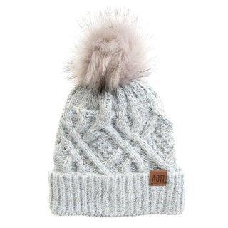 Alpha Omicron Pi Faux Fur Pom Beanie Hat