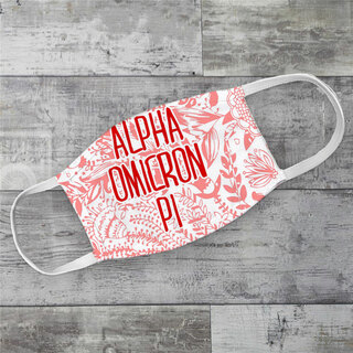 Alpha Omicron Pi Floral Face Mask