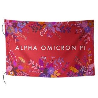 Alpha Omicron Pi Floral Flag
