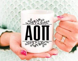 Alpha Omicron Pi Floral Letters Mug