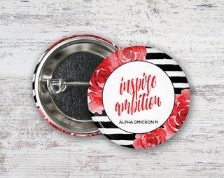 Alpha Omicron Pi Floral Motto Button