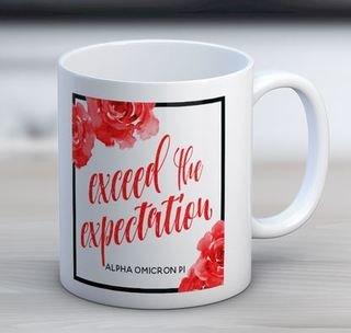 Alpha Omicron Pi Floral Motto Coffee Mug