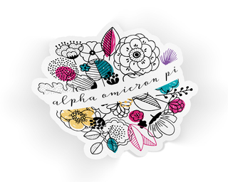 Alpha Omicron Pi Flower Sticker