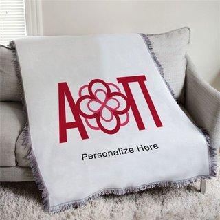 Alpha Omicron Pi Full Color Crest Afghan Blanket Throw