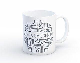 Alpha Omicron Pi Geo Scroll Mug