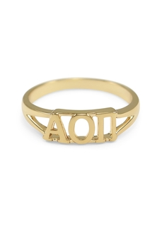 Alpha Omicron Pi Gold Plated Letter Ring
