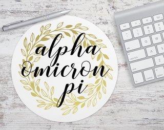 Alpha Omicron Pi Gold Wreath Mousepad