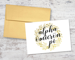 Alpha Omicron Pi Gold Wreath Notecards(6)
