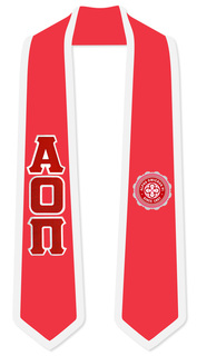 Alpha Omicron Pi Greek 2 Tone Lettered Graduation Sash Stole