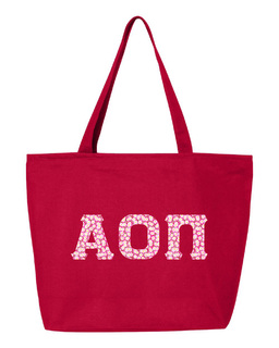Alpha Omicron Pi Greek Letter Zipper Tote