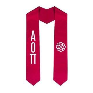 Alpha Omicron Pi Greek Lettered Graduation Sash Stole With Crest