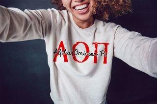 Alpha Omicron Pi Greek Type Crewneck Sweatshirt