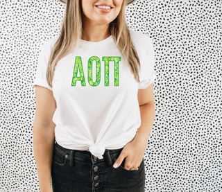 Alpha Omicron Pi Green Fizz Lettered Short Sleeve T-Shirt