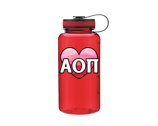 Alpha Omicron Pi Heart Wide Mouth Water Bottle