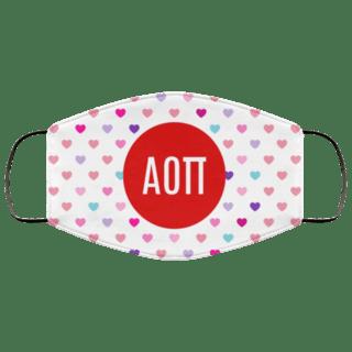 Alpha Omicron Pi Hearts Face Mask