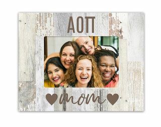 Alpha Omicron Pi Hearts Faux Wood Picture Frame