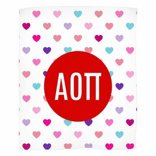 Alpha Omicron Pi Hearts Fleece Blanket
