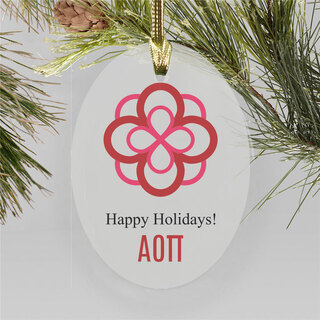 Alpha Omicron Pi Holiday Color Crest - Shield Ornament