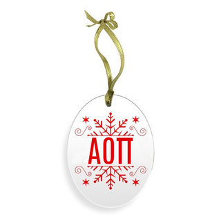 Alpha Omicron Pi Holiday Color Snowflake Christmas Ornament