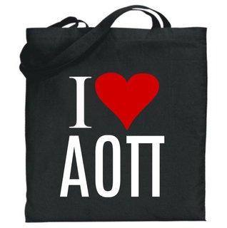 Alpha Omicron Pi I Love Tote Bags