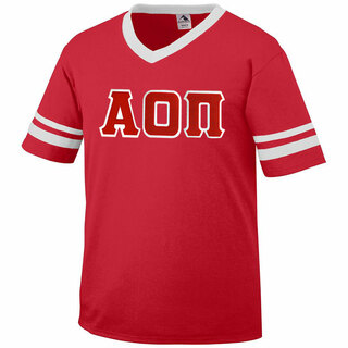 DISCOUNT-Alpha Omicron Pi Jersey With Greek Applique Letters