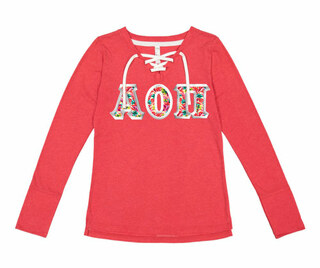 Alpha Omicron Pi LAT - Sorority Fine Jersey Lace-Up Long Sleeve T-Shirt