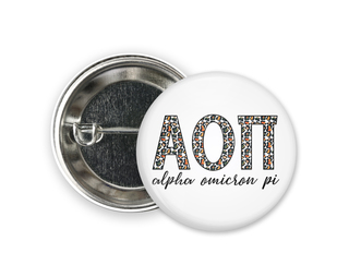Alpha Omicron Pi Leopard Button